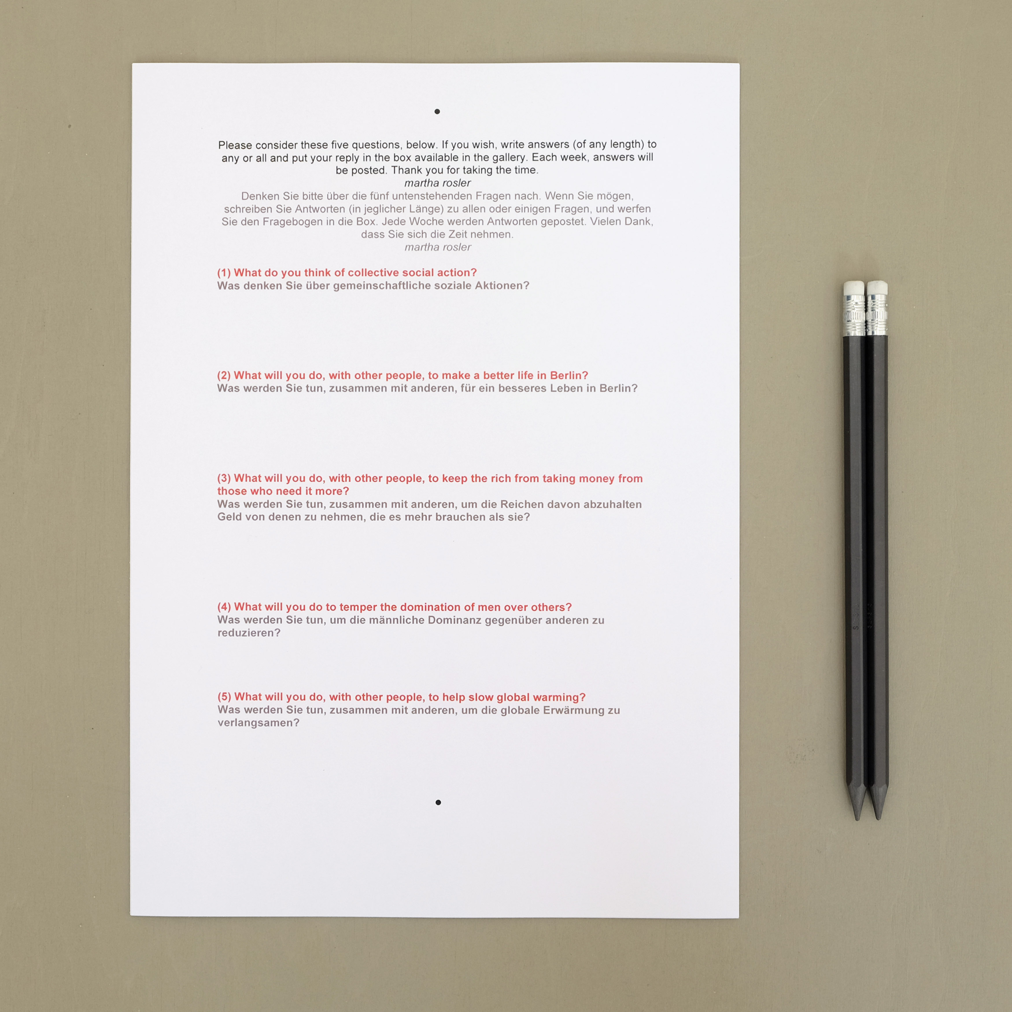 Martha Rosler - Short Questionnaire, 2014